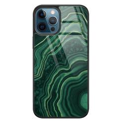 Leuke Telefoonhoesjes iPhone 12 glazen hardcase - Groen agate