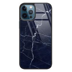 iPhone 12 glazen hardcase - Marmer navy blauw