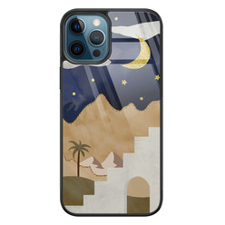 Leuke Telefoonhoesjes iPhone 12 glazen hardcase - Desert night