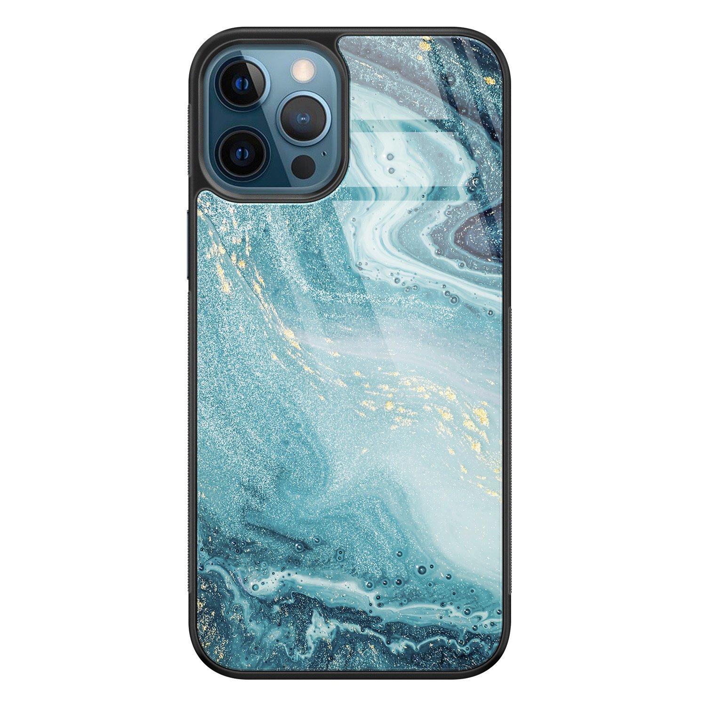 Leuke Telefoonhoesjes iPhone 12 glazen hardcase - Marmer blauw