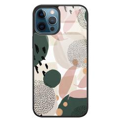 Leuke Telefoonhoesjes iPhone 12 glazen hardcase - Abstract print