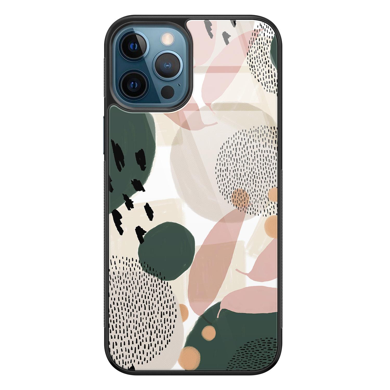 iPhone 12 glazen hardcase - Abstract print