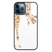 Leuke Telefoonhoesjes iPhone 12 glazen hardcase - Giraffe peekaboo