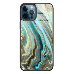 Leuke Telefoonhoesjes iPhone 12 glazen hardcase - Marmer mint