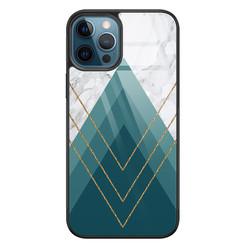Leuke Telefoonhoesjes iPhone 12 glazen hardcase - Geometrisch blauw