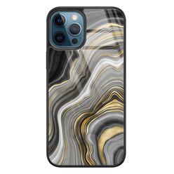 Leuke Telefoonhoesjes iPhone 12 glazen hardcase - Golden agate