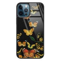Leuke Telefoonhoesjes iPhone 12 glazen hardcase - Vlinders
