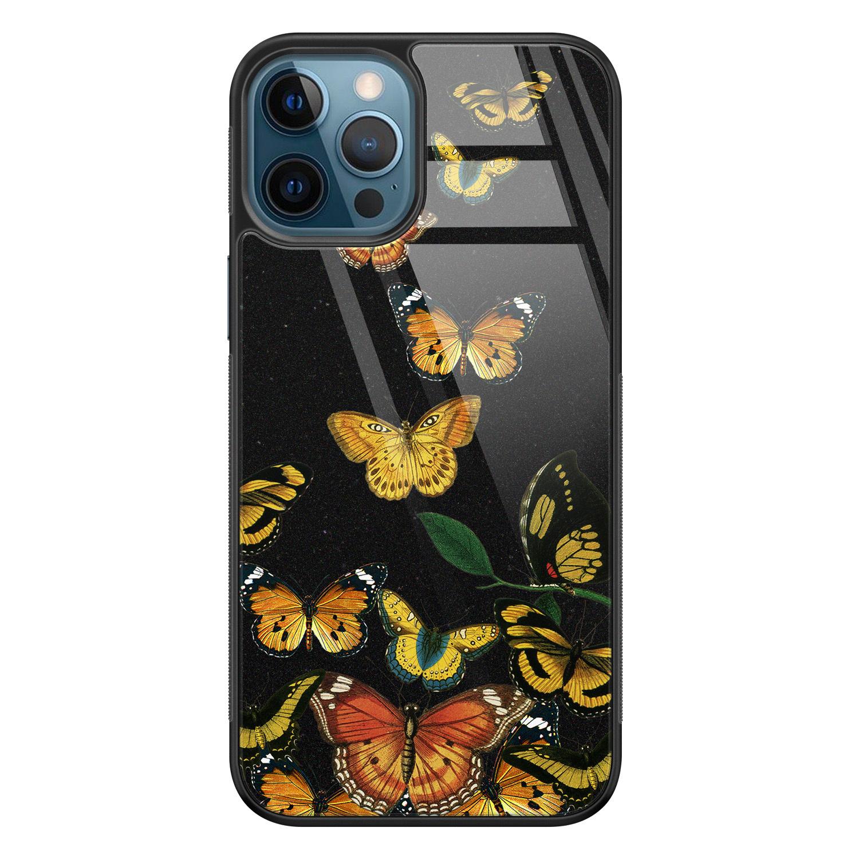 iPhone 12 glazen hardcase - Vlinders