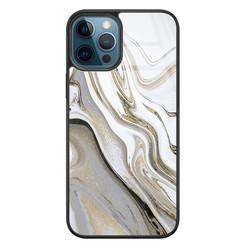 Leuke Telefoonhoesjes iPhone 12 glazen hardcase - Marmer wit goud