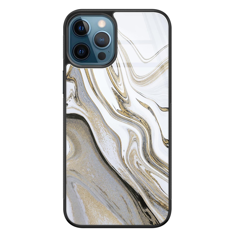 iPhone 12 glazen hardcase - Marmer wit goud