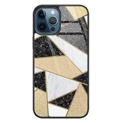 Leuke Telefoonhoesjes iPhone 12 glazen hardcase - Goud abstract