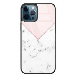 Leuke Telefoonhoesjes iPhone 12 glazen hardcase - Marmer roze grijs