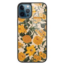 Leuke Telefoonhoesjes iPhone 12 glazen hardcase - Retro flowers