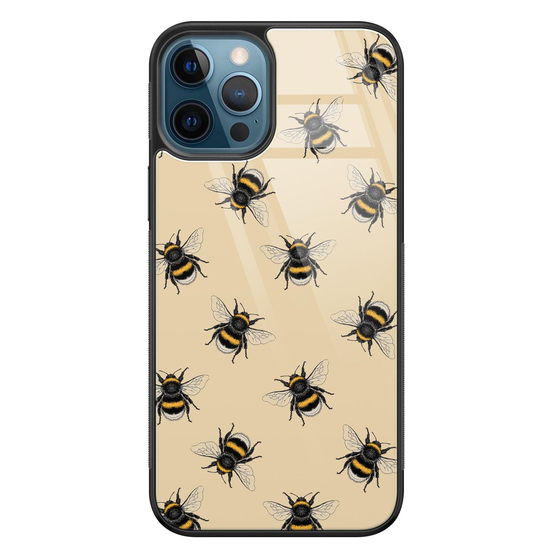 Leuke Telefoonhoesjes iPhone 12 glazen hardcase - Bee happy