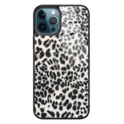 Leuke Telefoonhoesjes iPhone 12 glazen hardcase - Luipaard grijs