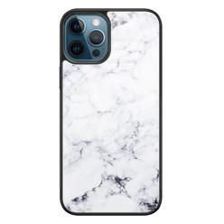 Leuke Telefoonhoesjes iPhone 12 glazen hardcase - Marmer grijs