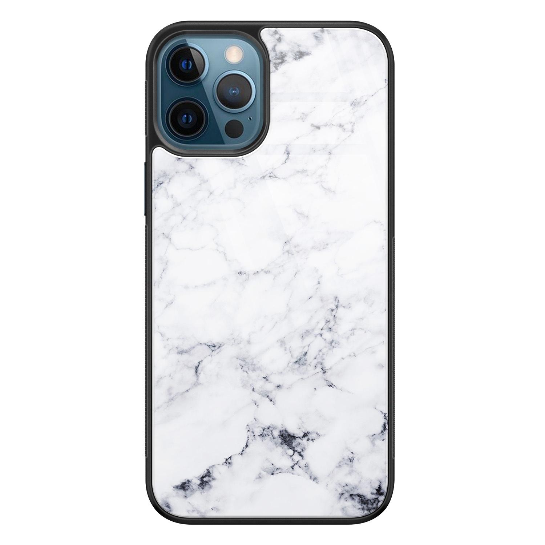 iPhone 12 glazen hardcase - Marmer grijs