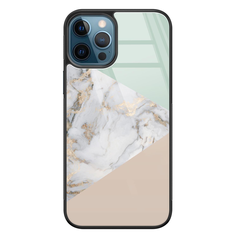 iPhone 12 glazen hardcase - Marmer pastel mix