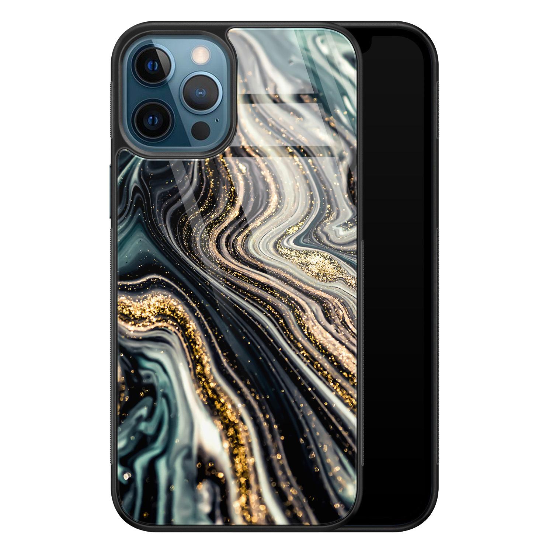 iPhone 12 glazen hardcase - Marmer swirl