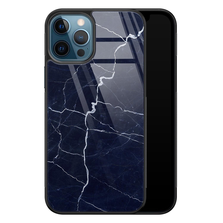 Leuke Telefoonhoesjes iPhone 12 glazen hardcase - Marmer navy blauw