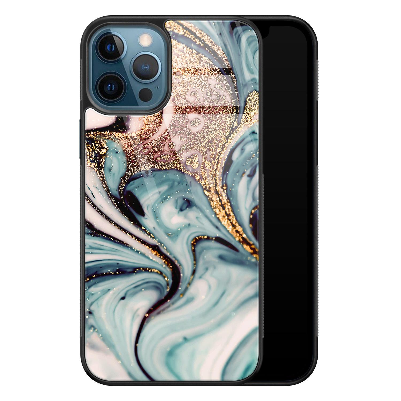 iPhone 12 glazen hardcase - Marmer blauw goud