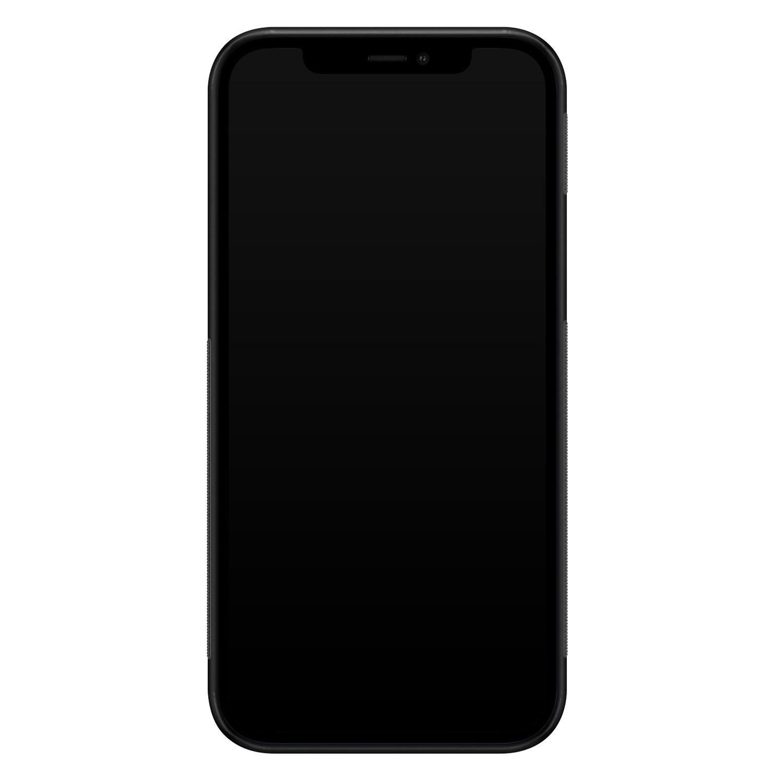 iPhone 12 glazen hardcase - Abstract gezicht lijnen