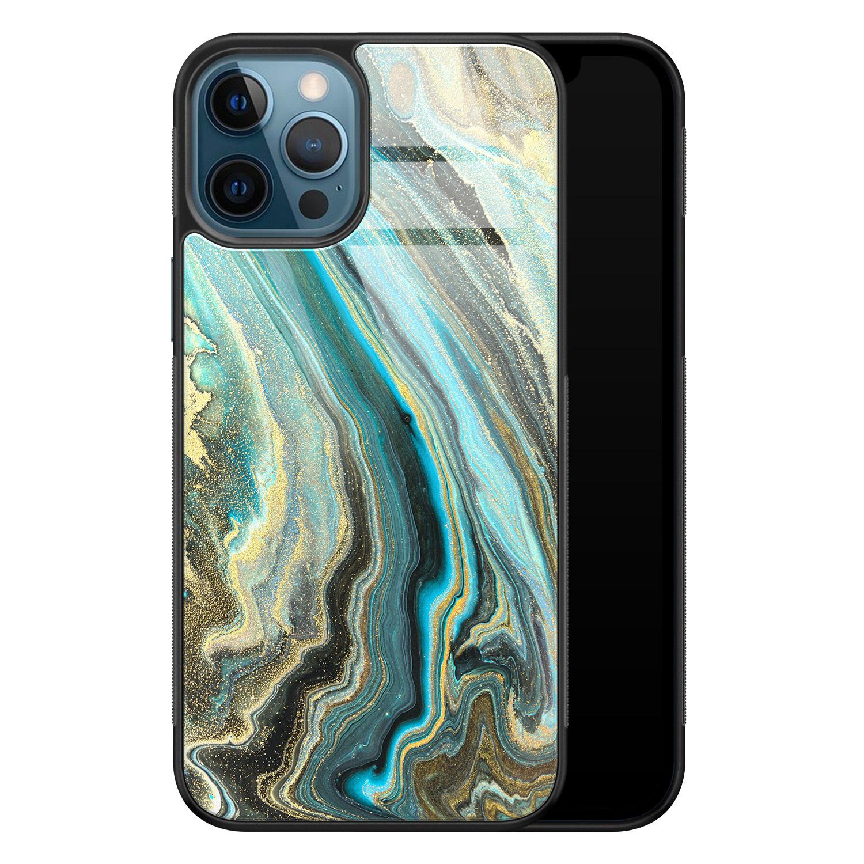 iPhone 12 glazen hardcase - Marmer mint