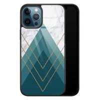 iPhone 12 glazen hardcase - Geometrisch blauw
