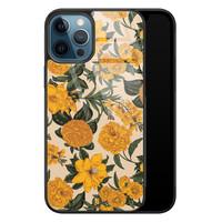 iPhone 12 glazen hardcase - Retro flowers