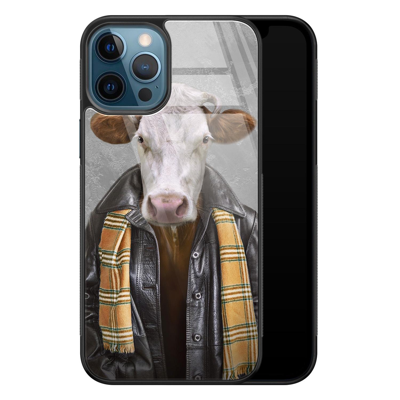 iPhone 12 glazen hardcase - Koe