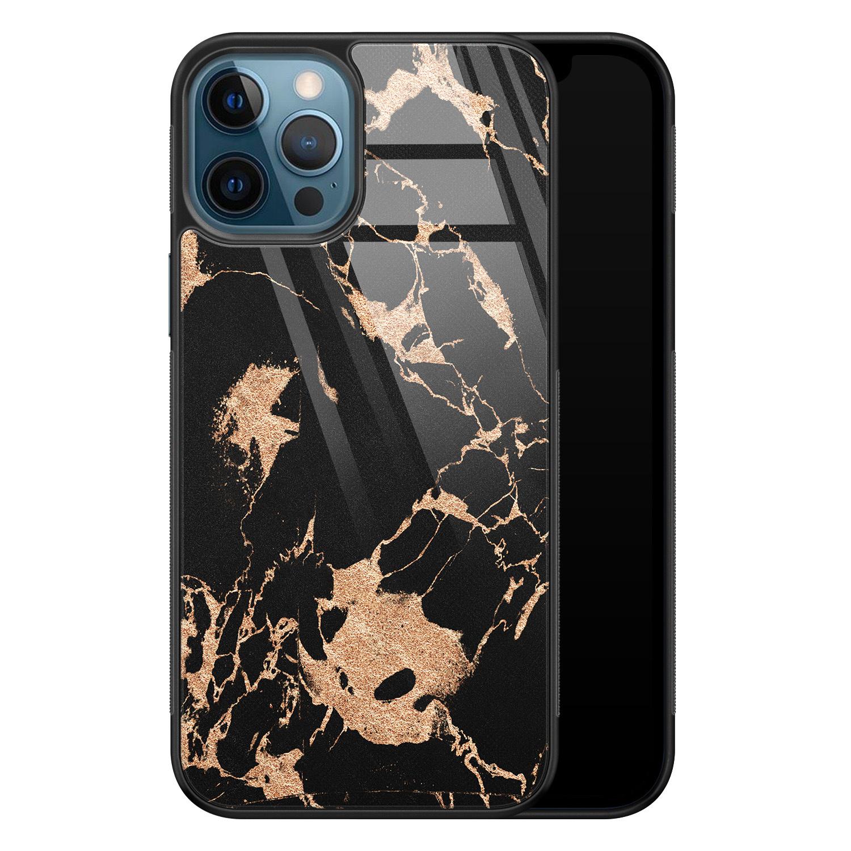 iPhone 12 glazen hardcase - Marmer zwart brons