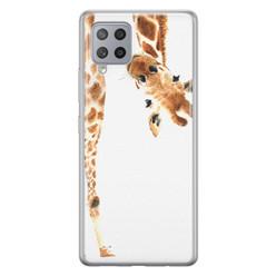 Leuke Telefoonhoesjes Samsung Galaxy A42 siliconen hoesje - Giraffe peekaboo