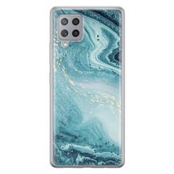 Samsung Galaxy A42 siliconen hoesje - Marmer blauw