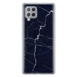 Leuke Telefoonhoesjes Samsung Galaxy A42 siliconen hoesje - Marmer navy blauw