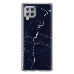 Samsung Galaxy A42 siliconen hoesje - Marmer navy blauw