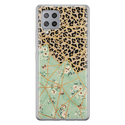 Leuke Telefoonhoesjes Samsung Galaxy A42 siliconen hoesje - Luipaard flower print