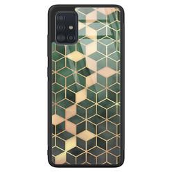 Samsung Galaxy A71 glazen hardcase - Green cubes