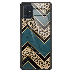 Samsung Galaxy A71 glazen hardcase - Luipaard zigzag