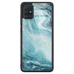 Samsung Galaxy A71 glazen hardcase - Marmer blauw