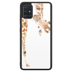 Samsung Galaxy A71 glazen hardcase - Giraffe peekaboo