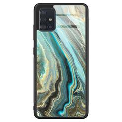 Samsung Galaxy A71 glazen hardcase - Marmer mint