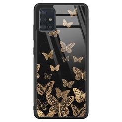 Samsung Galaxy A71 glazen hardcase - Vlinders