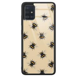 Samsung Galaxy A71 glazen hardcase - Bee happy