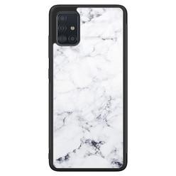 Samsung Galaxy A71 glazen hardcase - Marmer grijs