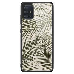 Samsung Galaxy A71 glazen hardcase - Palm leaves