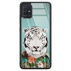 Samsung Galaxy A71 glazen hardcase - Witte tijger