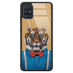 Samsung Galaxy A71 glazen hardcase - Tijger hipster