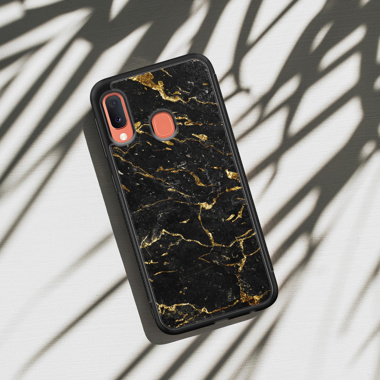 Samsung Galaxy A20e hoesje - Marmer zwart goud
