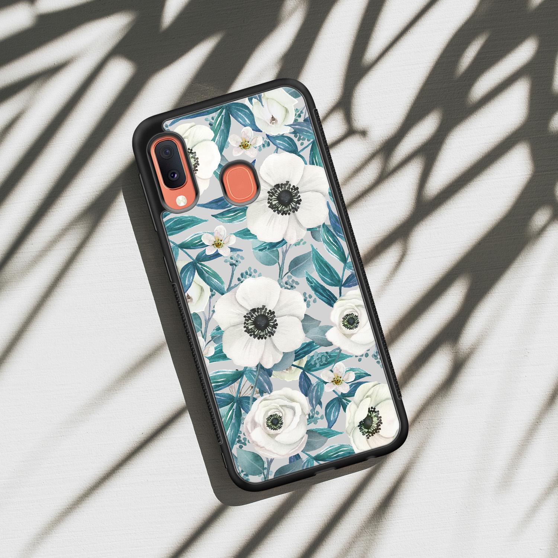 Samsung Galaxy A20e hoesje - Witte bloemen