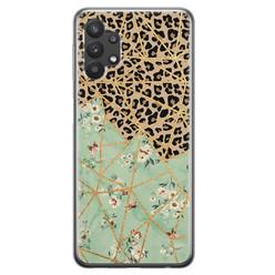 Samsung Galaxy A32 siliconen hoesje - Luipaard flower print